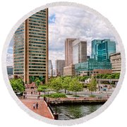 City - Baltimore Md - Harbor Place - Baltimore World Trade Center  Round Beach Towel