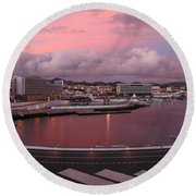 City At Dusk Round Beach Towel