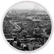 City By The Bay Round Beach Towel by Valeria Donaldson