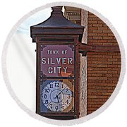 City Clock In Silver City Nm Round Beach Towel