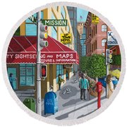 City Corner Round Beach Towel