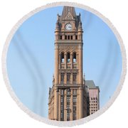 City Hall And Trolley Round Beach Towel