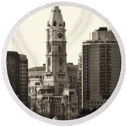 City Hall From The Parkway - Philadelphia Round Beach Towel