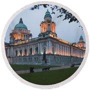 City Hall Illuminated Belfast, County Round Beach Towel