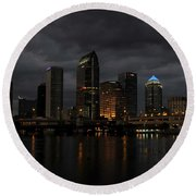 City In The Storm Round Beach Towel