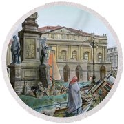 City Of Milan In Italy Under Water Round Beach Towel