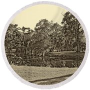 City Park Lagoon Sepia Round Beach Towel