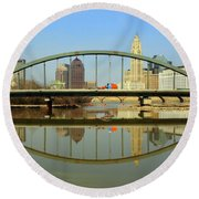 City Reflections Through A Bridge Round Beach Towel