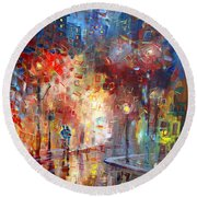 City Street Round Beach Towel