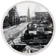 Civil War Damaged Charleston South Carolina - Meeting Street - C 1865 Round Beach Towel