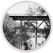 Civil War: Foot Bridge Round Beach Towel