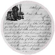 Civil War: Letter, 1862 Round Beach Towel