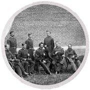 Civil War Officers Round Beach Towel