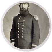 Civil War Union Commander Round Beach Towel