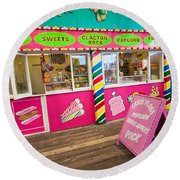 Clacton Pier Shop Round Beach Towel