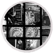 Classic Car Collage In Black And White Round Beach Towel