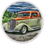 Classic Ford Hdr Round Beach Towel