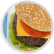 Classic Hamburger With Cheese Tomato And Salad Round Beach Towel