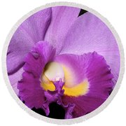 Classic Purple Orchid Round Beach Towel