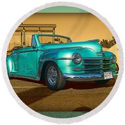 Classic Teal Convertible Round Beach Towel