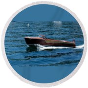 Classic Wooden Boat Round Beach Towel