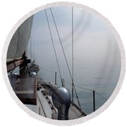 Classic Wooden Sailboat With No Horizon Off The Bow Round Beach Towel