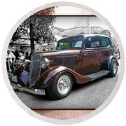 Classy Brown Ford Round Beach Towel