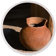 Clay Pot And Shadow Round Beach Towel