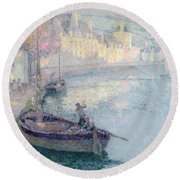 Clear Morning - Quimperle Round Beach Towel