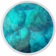 Clear Water 3 Ionian Sea Series Round Beach Towel