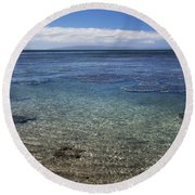 Clear Water And Coral Round Beach Towel