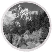 Clearing Storm On Grand Teton  Round Beach Towel