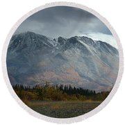 Clearing Storm Over North Canol Road Round Beach Towel