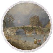 Clearing Up For Fine Weather Beddgelert North Wales 1867 Round Beach Towel