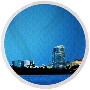 Clearwater At Night Round Beach Towel
