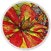 Clematis In Colored Pencil  Round Beach Towel