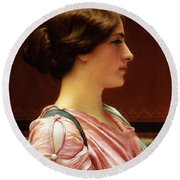 Cleonice Round Beach Towel by John William Godward