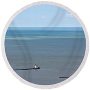 Cleveland Harbor Lighthouse Round Beach Towel