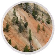 Cliff Side Grand Canyon Colors Vertical Round Beach Towel