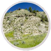 Cliff Side Panorama Round Beach Towel