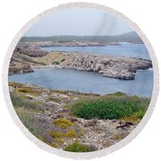 Cliffs And Coves Of Son Parc  Round Beach Towel