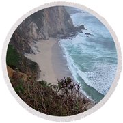 Cliffs And Surf On The California Coast Round Beach Towel