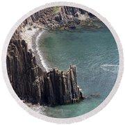 Cliffs At Grand Manan Island, Canada Round Beach Towel