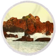 Cliffs In The Warm Evening Light Round Beach Towel