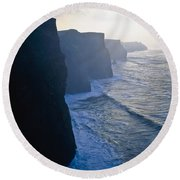 Cliffs Of Moher,co Clare,irelandview Of Round Beach Towel