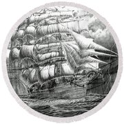 Clipper In The Storm Filtered Round Beach Towel