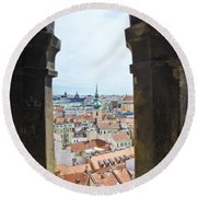Clock Tower View - Prague Round Beach Towel
