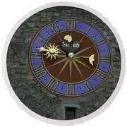 Clocktower In Lucerne On A Stone Tower Round Beach Towel