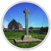 Cloncra Church, Inishowen Peninsula Round Beach Towel