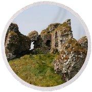 Clonmacnoise Castle Ruin - Ireland Round Beach Towel